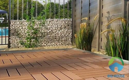 gạch giả gỗ lát sân vườn 1